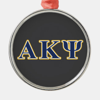 Alpha Kappa Psi Yellow and Navy Letters Metal Ornament