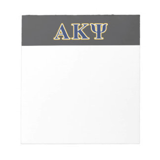 Alpha Kappa Psi Yellow and Navy Letters Notepad