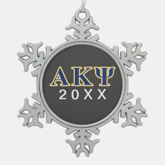 Alpha Kappa Psi Yellow and Navy Letters Snowflake Pewter Christmas Ornament