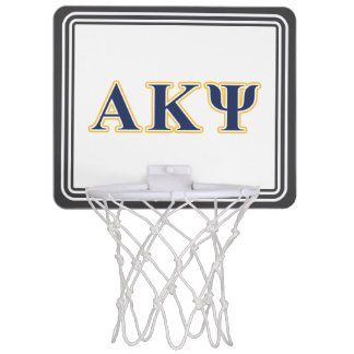 Alpha Kappa Psi Yellow and Navy Letters Mini Basketball Hoops