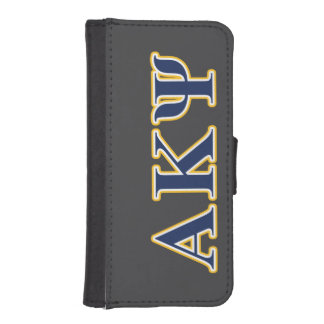 Alpha Kappa Psi Yellow and Navy Letters Phone Wallets