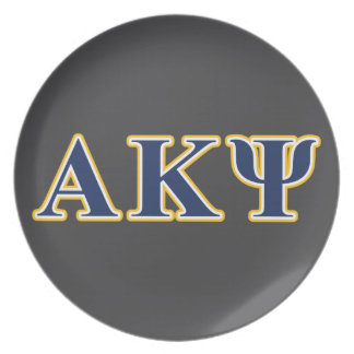 Alpha Kappa Psi Yellow and Navy Letters Plates