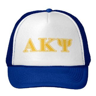 Alpha Kappa Psi Yellow Letters Trucker Hat