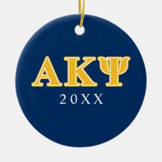Alpha Kappa Psi Yellow Letters Christmas Tree Ornament