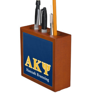 Alpha Kappa Psi Yellow Letters Pencil Holder