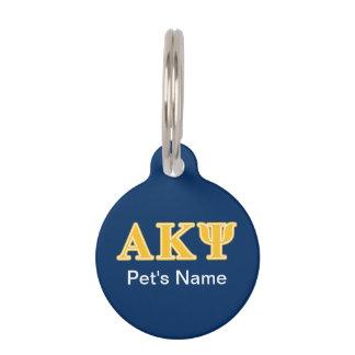 Alpha Kappa Psi Yellow Letters Pet Nametag
