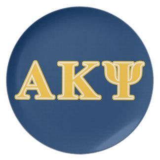 Alpha Kappa Psi Yellow Letters Plates