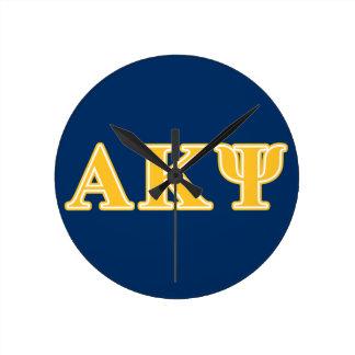 Alpha Kappa Psi Yellow Letters Wallclocks