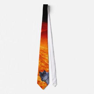 Alpha Male Grey Wolf & Flaming Sun Wildlife Tie