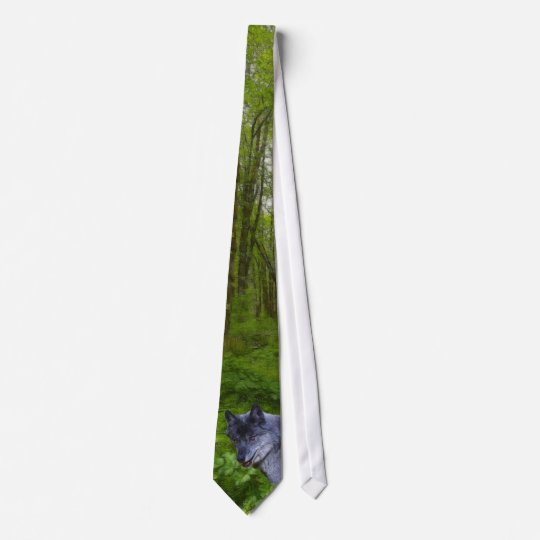 Alpha Male Grey Wolf & Forest Wildlife Necktie