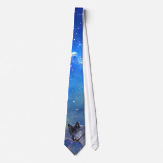 Alpha Male Grey Wolf & Outer Space Wildlife Tie