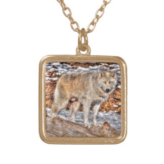 Alpha Male Grey Wolf Wildlife Photo Gold Plated Necklace