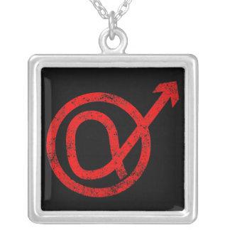 Alpha Male Sign Square Pendant Necklace