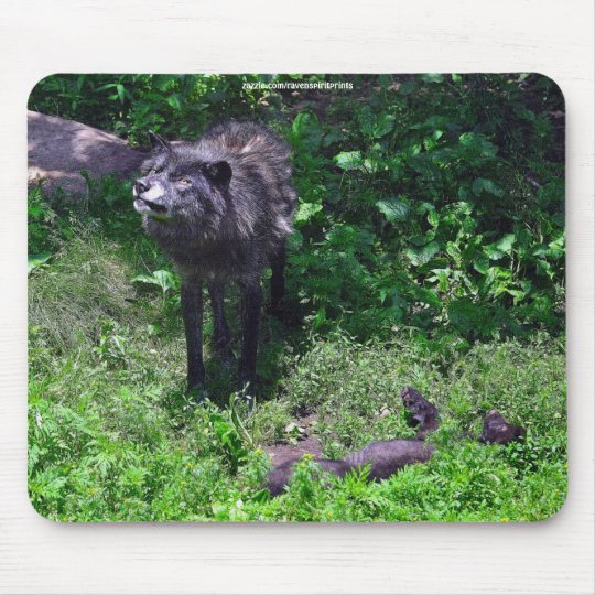 Alpha Male Wolf with Grey Wolf Cub Wildlife Mouse Pad