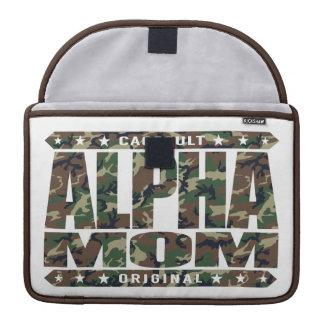 ALPHA MOM - I'm a Domestic Warrior Goddess, Camo MacBook Pro Sleeves