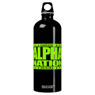 ALPHA NATION - We Love Mixed Martial Arts, Lime Aluminum Water Bottle