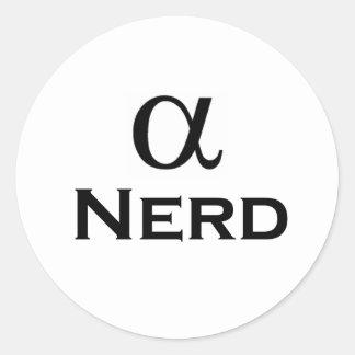 alpha nerd classic round sticker