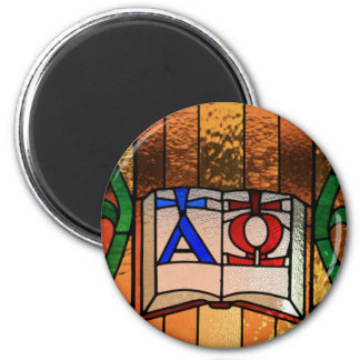 Alpha Omega Book Stained Glass Art 2 Inch Round Magnet