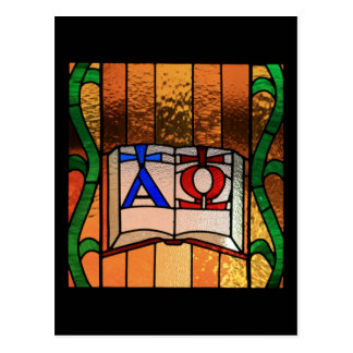 Alpha Omega Book Stained Glass Art Postcard