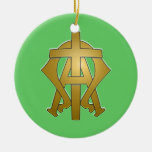 Alpha & Omega Double-Sided Ceramic Round Christmas Ornament
