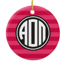 Alpha Omicron Pi | Monogram Stripe Pattern Ceramic Ornament