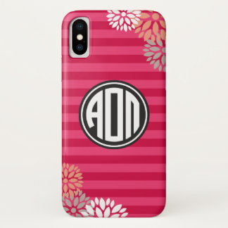 Alpha Omicron Pi | Monogram Stripe Pattern iPhone X Case