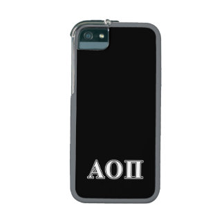 Alpha Omicron Pi White Letters iPhone 5/5S Covers