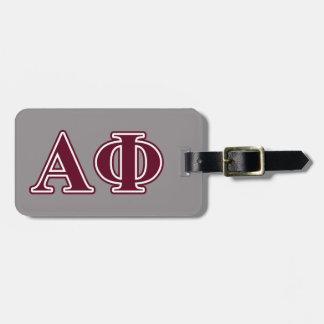 Alpha Phi Bordeaux Letters Bag Tag