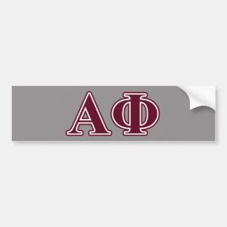 Alpha Phi Bordeaux Letters Bumper Sticker