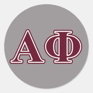 Alpha Phi Bordeaux Letters Round Stickers