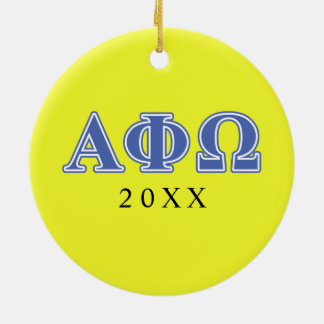 Alpha Phi Omega Blue Letters Ceramic Ornament
