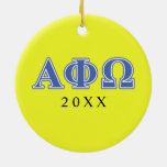 Alpha Phi Omega Blue Letters Double-Sided Ceramic Round Christmas Ornament