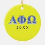 Alpha Phi Omega Blue Letters Ornaments