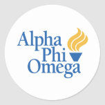 Alpha Phi Omega Color - Torch Classic Round Sticker
