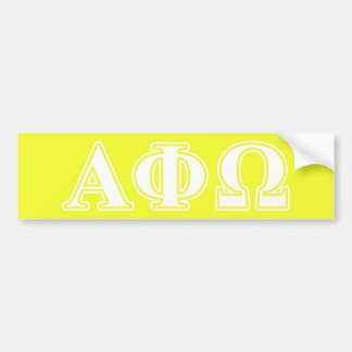 Alpha Phi Omega White and Yellow Letters Bumper Sticker
