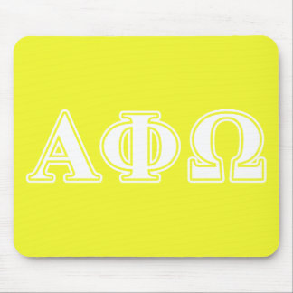 Alpha Phi Omega White and Yellow Letters Mousepad