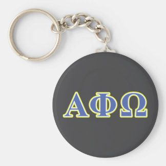 Alpha Phi Omega Yellow and Blue Letters Basic Round Button Keychain
