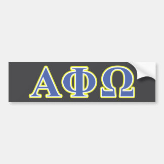 Alpha Phi Omega Yellow and Blue Letters Bumper Sticker