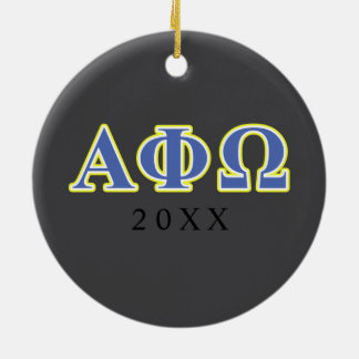 Alpha Phi Omega Yellow and Blue Letters Ceramic Ornament