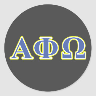 Alpha Phi Omega Yellow and Blue Letters Classic Round Sticker