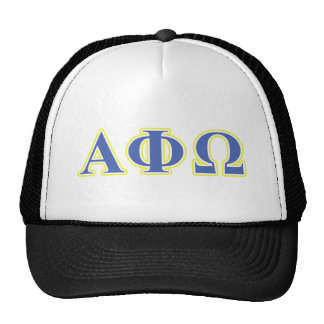 Alpha Phi Omega Yellow and Blue Letters Trucker Hat