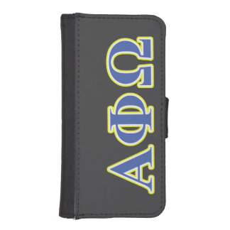 Alpha Phi Omega Yellow and Blue Letters iPhone SE/5/5s Wallet Case