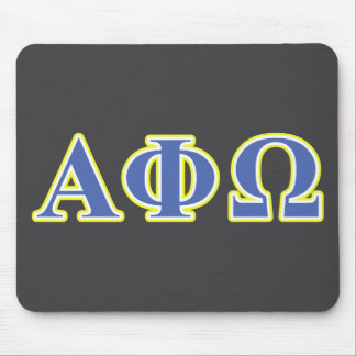 Alpha Phi Omega Yellow and Blue Letters Mouse Pad