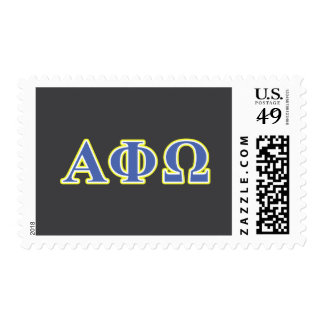 Alpha Phi Omega Yellow and Blue Letters Postage Stamps