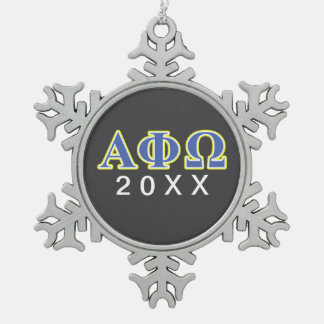 Alpha Phi Omega Yellow and Blue Letters Snowflake Pewter Christmas Ornament
