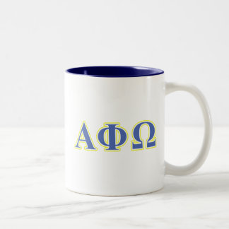 Alpha Phi Omega Yellow and Blue Letters Two-Tone Coffee Mug