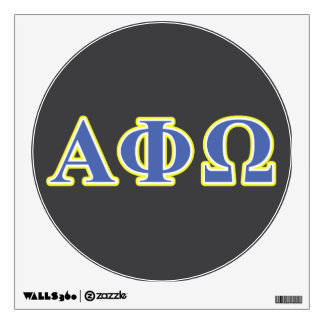 Alpha Phi Omega Yellow and Blue Letters Wall Sticker