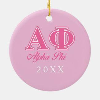 Alpha Phi Pink Letters Ceramic Ornament