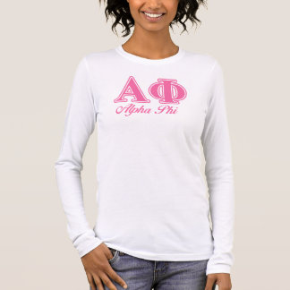Alpha Phi Pink Letters Long Sleeve T-Shirt