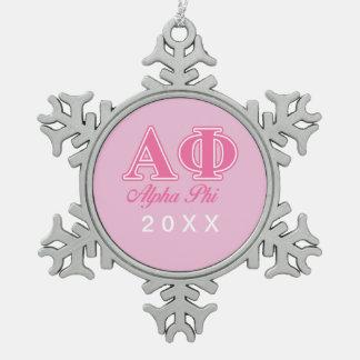 Alpha Phi Pink Letters Ornament